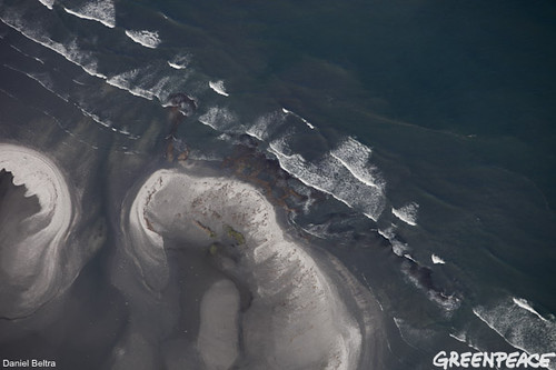 aerial view of oil spill