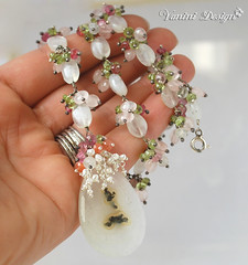 The Magic Blossom Necklace (VaniniDesign) Tags: pink green silver necklace handmade withe jewelry pearls cascades pendant gemstones wirewrapped briolette solarquartz