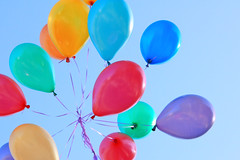 Balloons (miyuchinjp) Tags: birthday blue red party sky orange white abstract hot color reflection childhood yellow festival fun design shiny child purple bright image many background air group balloon vivid balls bubbles celebration glossy card sphere helium backdrop colored strings multi descriptive
