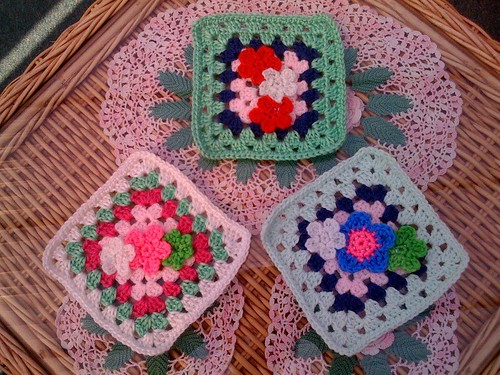 Granny Squares with three tiny Little Flowers, aren't they cute? !  Thanks so much Sally for joining us.