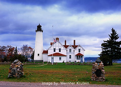 Point Iroquois Lighthouse, New York (Wernher Krutein) Tags: sea lighthouse newyork building water architecture book coast lighthouses technology safety coastal shore maritime coastline beacon sentry usaunitedstates safehaven navigationaid navaid transportationsafety pointiroquoislighthouse