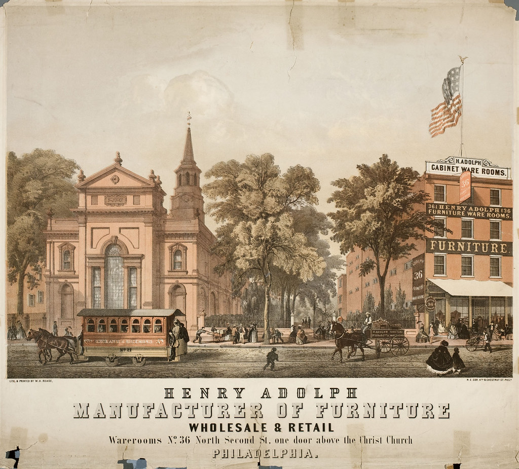 Henry Adolph, manufacturer of furniture wholesale and retail, warerooms no. 36 North Second St., one door above the Christ Church Philadelphia, [ca. 1860]
