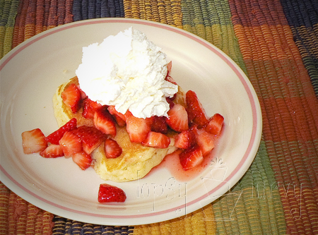 coconut pancakes for dinner strawberries whipped cream