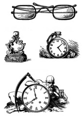 Watching the Hands of Time (Double--M) Tags: blackandwhite clock vintage watch clipart spectacles typespecimen