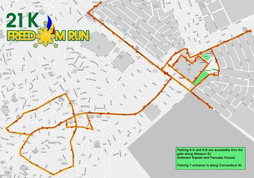 Freedom Run 2010 - 21K Race Map