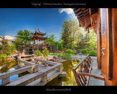 """ZigZag"" - Chinese Garden - Stuttgart, Germany (HDR) (farbspiel) Tags: blue red sea lake colour green rot colors sunshine yellow clouds photoshop germany relax geotagged photography see pond nikon colorful colours cloudy tripod wolken wideangle bluesky gelb mystical colourful chinesegarden grn blau relaxation teich dri blauerhimmel deu hdr highdynamicrange farben sonnenschein superwideangle wolkig workflow niceweather 10mm entspannung postprocessing badenwrttemberg tmpel dynamicrangeincrease ultrawideangle d90 schneswetter photomatix tonemapped tonemapping farbenpracht detailenhancer topazadjust stuttgartstuttgartmitte topazdenoise klausherrmann topazsoftware sigma1020mmf35exdchsm hdrworkflow topazphotoshopbundle geo:lat=4878716487 geo:lon=917592824"