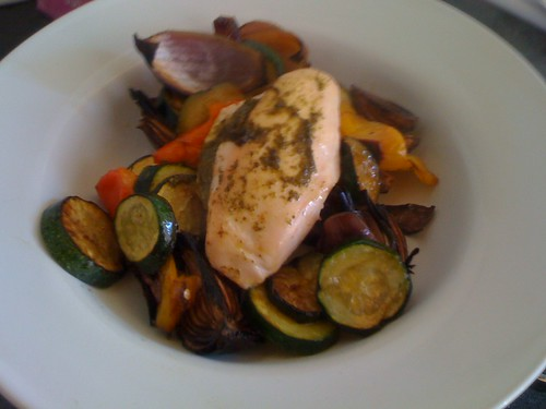 Pesto stuffed chicken with chunky roasted veg