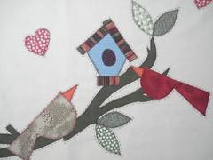 Toalha de Café - VENDIDA (Patchwork Sonia Ascari) Tags: flores bird apple café feira toalha bolsa cozinha molde maça tubarao passaros riscos patchcolagem feagro braçodonortepatchwork