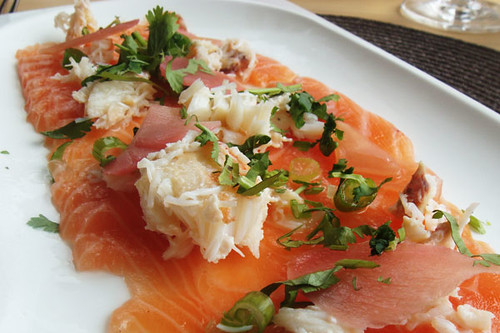 Marinated salmon with Cornish crab and pickled ginger