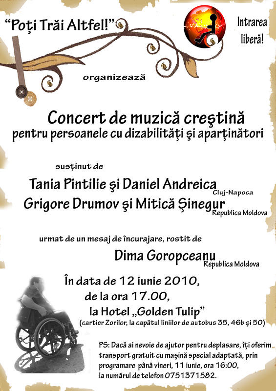 """Concert de muzica crestina pentru persoanele cu dizabilitati """"Poti trai alftfel"""""""