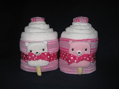 Candy Stripes Bath Set (Cupcake Kisses) Tags: pink baby cute cakes girl cupcakes soft candy sweet sassy towel flannel babyblanket ultrasoft receivingblanket cupcaketowel bathtowelset washclothtowelset cupcaketowelset