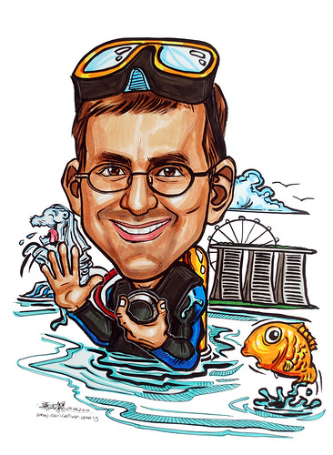 Caricature for P&G scuba diver farewell to Singapore