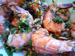grilled shrimp with preserved lemon, etc.