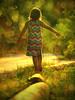 Balance (Ekler) Tags: sunset nature girl shiny warm bright little sunny balance annamaria photoart balancing svetlana daugter stowers peaseful wlking oldschooldigital olympuse410 soloha sowt