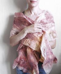Handmade Nuno Felted silk and wool scarf Ashes of Roses OOAK (JaneBoFELT) Tags: pink wool rose scarf silk wrap handdye nunofelted