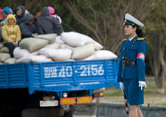 Blue on blue - Pyongyang North Korea (Eric Lafforgue) Tags: street truck war asia police korea cop asie coree northkorea trafic pyongyang dprk coreadelnorte 4329 nordkorea    coreadelnord   insidenorthkorea  rpdc  kimjongun coreiadonorte