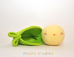Chick Pea in a Pod (mochistudios) Tags: baby shop soft embroidery chick plush cuddly plushie fleece pea embroidered chickpea babypeapod babypea mochistudios chickpeapod