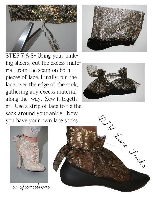 Nina Ricci inspired lace sock DIY 6