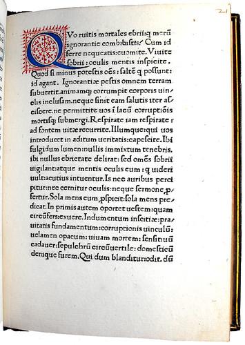 Page of text with decorative Initial 'Q' from Hermes Trismegistus: De potestate et sapientia Dei
