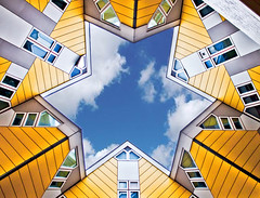 The big star (B.Jansma) Tags: autumn houses cloud house building netherlands up lines yellow architecture photoshop canon point star big rotterdam blauw view bright curves shapes nederland cubes lucht geel gebouw punt fel kubus lijnen ster vormen groot woning 500d woningen omhoog kijk tekoop puntig colorefexpro30 adobecs4
