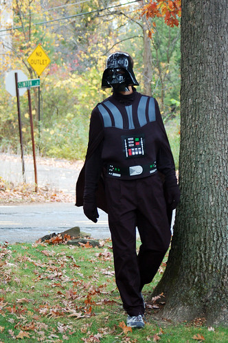 Mark as Darth Vader roaming our yard.