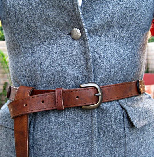 vintage wool blazer+asos long boyfriend belt