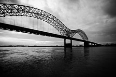 Lay Down Baby (Thomas Hawk) Tags: bridge sunset bw usa river unitedstates 10 memphis tennessee unitedstatesofamerica mississippiriver arkansas newbridge hernandodesotobridge fav10 natureshand