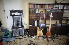 Gear - Menn Ársins reaharsing and recording demos (Siggidóri) Tags: diy bass gear books bookshelf mesaboogie amplifier speakers recording electricbass basses 4string 5string bassamp lakland fretlessbass zonsonus
