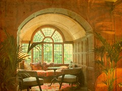 Gray's Court: a perfect place for tea! (Kurlylox1) Tags: york england english pillows british charming elegant teatime woodpaneling windowseat longhall grayscourt imagepoetry