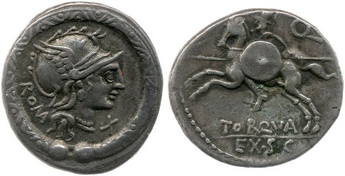295/1 Plated Denarius of L.Torquatus, note missing reverse praenom and slightly irregular obverse style, BMCRR Italy 521