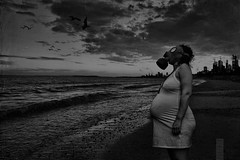 (Danielle_T) Tags: portrait blackandwhite woman art beach halloween strange digital dark weird insane intense scary emotion digitalart dream surreal pregnant creepy spooky psycho scarey horror gasmask nightmare unusual potrait lucid nasty mental danielletunstall