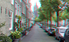 Oude Gracht Delft 3D (wim hoppenbrouwers) Tags: oudegracht delft 3d anaglyph stereo redcyan oudekerk gracht