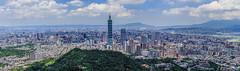 Taipei 101 (鋒鋒相連到天邊) Tags: taipei101 taipeicity landscape outdoor 台北 101 四獸山 象山 九五峰 sishoumountain taiwan 台灣 風景 全景圖 panorama taipeibasin