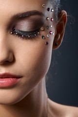 16221535_s (PartyHelfer) Tags: makeup strasses beautiful luxury portrait closedeyes woman facial wearing partial grey girl face studio elegant lifestyle young background people closeup caucasian jewel glamour elegance white oneperson cosmetics professionalmakeup luxurious female glittering feminine vertical pretty glitter sparkly american rhinestones european 20s beauty close radiant glamorous brunette fancy eyesshut person eyesclosed party alone accessory single attractive color image