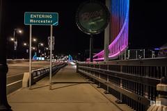 White City (brianpawlowskis) Tags: night worcester lighting bridge water reflections city massachusetts lake cityscape architecture