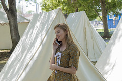1776 Calling (aaronrhawkins) Tags: colonial dress 4thofjuly tent girl woman smartphone anachronism historical orem utah modern old costume period outofplace celebration holiday inaccurate aaronhawkins revolutionary war colonies phone call talk mobile cellphone independenceday