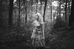 Danielle (Ella Ruth) Tags: portrait woman forest woods woodland overgrown nature dress blonde lookingup monochrome blackandwhite undergrowth haunting eerie soft d750 50mm 14 photographer shrewsbury shropshire leicester ellaruth