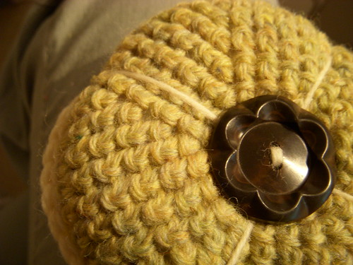 crocheted pin cushion
