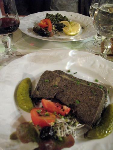 mushroom pate and seaweed tartar