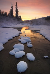 Gentle Flow (Wolfhorn) Tags: winter sunset snow nature water alaska landscape stream frost flowing wilderness gently