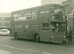 London Transport . DMS936 SMU936N . Plaistow Station . 21st-January-1979 (AndrewHA's) Tags: bus station parkroyal londonbus leyton londontransport daimlerfleetline crg6 railwayreplacementservice dms936 smu936n