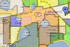 Lakeland Florida Neighborhood map Sm2