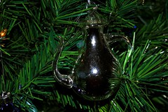One of my favorite ornaments.  A silver & glass tea pot