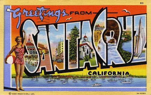 Greetings from santa cruz california large letter postcard a greetings from santa cruz california large letter postcard m4hsunfo