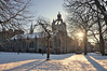 The low winter sun, Kings College, Old Aberdeen, Scotland (iancowe) Tags: old trees winter sun sunlight snow tower college campus university shadows lawn chapel kings aberdeen crown