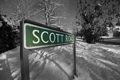 Scott Road Prestbury (Oliver Wood Photography) Tags: winter snow ice mono cheshire selectivecolour scottroad prestbury