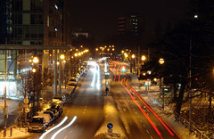 Bismarckallee at night, Freiburg (www.bazpics.com) Tags: light motion color colour night germany dark deutschland movement stream europe long exposure streak sony trail r1 alpha freiburg dsc sensor