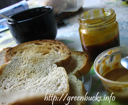 Coco Jam, Peanut Butter and Bread for Breakfast
