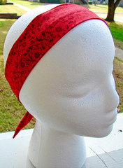 Fabric Headband: Red Flowers