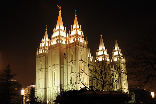 Salt lake temple night from near rs building